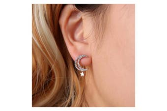 (silver) - Chargances Silver Stud Earrings Moon and Star Stud Earrings Star for Women Ear Post Crescent Moon Personalised Cute Fashion Earrings Stud Earrings for Teens Girls Women(silver)