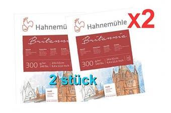 2 x Hahnemuhle Britannia 300gsm Block - 12 Sheets (24 x 32 cm) fine Grain
