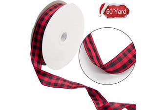 (red) - Alpurple 50 Yard Large Buffalo Cheque Ribbon,Gingham Wired Ribbon -2.5cm Wide Wired Plaid Taffeta Ribbon, Lumberjack Ribbon for Lumberjack Party Supplies and Christmas, Valentine's DIY Craft (Red)