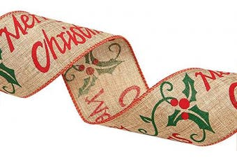 (1 pcs, Merry Christmas) - 7 SEVENTOPIA Wide Christmas Burlap Ribbon Wired Edged Xmas Tree Ornaments Red Green Brown for Wreaths Bows Gift Packaging - 6.4cm x 2m