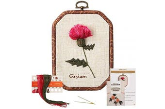 Akacraft Chinese FlowersPick Series Embroidery Starter Kit, Canvas Cloth with Colour Pattern, Imitated Wood Rubber Embroidery Hoop, Colour Threads, and Needles (Cirsium)
