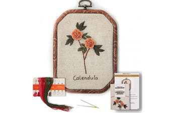 (Calendula) - Akacraft Chinese FlowersPick Series Embroidery Starter Kit, Canvas Cloth with Colour Pattern, Imitated Wood Rubber Embroidery Hoop, Colour Threads, and Needles (Calendula)