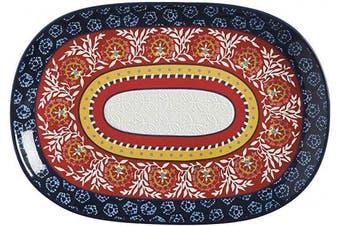 (40 x 28 cm) - Maxwell Williams Boho Oblong Platter, Gift Boxed, Ceramic, Multi Colour, 40 x 28 cm