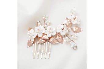 (Rose Gold) - Asooll Wedding Flower Hair Comb Bride Leaf Pearl Hair Pieces Bridal Crystal Hair Accessories for Women and Girls (Rose Gold)