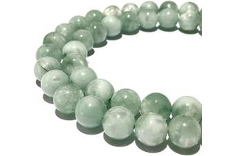(Green Angelite (From Russia)) - [ABCgems] Russian Green Angelite (Exquisite Inclusion- Beautiful Colour) Smooth 8mm Smooth Round Natural Semi-Precious Gemstone Healing Energy Beads