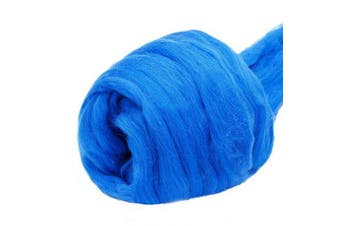 (blue) - Jupean 100ml Wool Roving Yarn, Fibre Roving Wool Top, Wool Felting Supplies, 100% Pure Wool, Chunky Yarn, Spinning Wool Roving for Needle Felting Wet Felting DIY Hand Spinning
