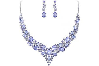 (Light Purple Silver-tone) - Clearine Women's Wedding Bridal Austrian Crystal Teardrop Cluster Statement Necklace Dangle Earrings Set