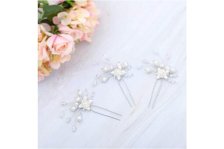 (Silver) - Zoestar Wedding Flower Hair Pins Pearl Bride Headpiece Bridal Crystal Hair Pieces Accessories for Women, 3 Pcs (Silver)
