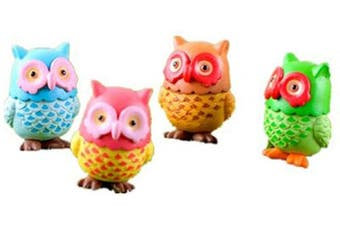 4 pcs Lovely Owls Animal Characters Toys Mini Figure Collection Playset, Plant Pot Craft Dollhouse Decoration, Cake Topper, Cake Decoration