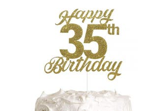 35th Birthday Cake Topper, Birthday Party Decorations with Premium Gold Glitter