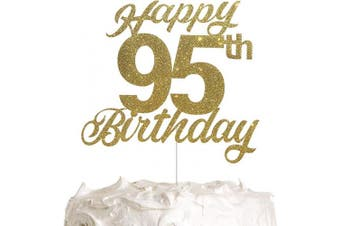 95th Birthday Cake Topper, Birthday Party Decorations with Premium Gold Glitter