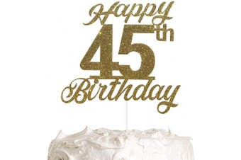 45th Birthday Cake Topper, Birthday Party Decorations with Premium Gold Glitter