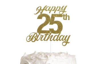 25th Birthday Cake Topper, Birthday Party Decorations with Premium Gold Glitter