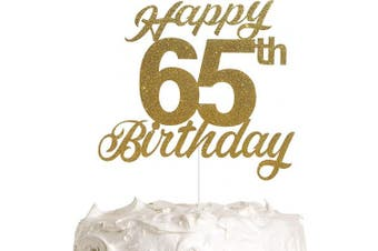 65th Birthday Cake Topper, Birthday Party Decorations with Premium Gold Glitter