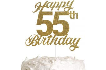 55th Birthday Cake Topper, Birthday Party Decorations with Premium Gold Glitter