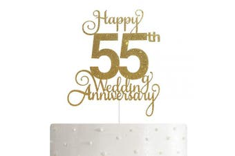 55th Wedding Anniversary Cake Topper, Wedding Anniversary Party Decoration with Premium Gold Glitter