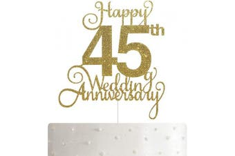 45th Wedding Anniversary Cake Topper, Wedding Anniversary Party Decoration with Premium Gold Glitter