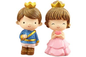2 Pcs Prince Princess Doll Figures, Mini Prince Princess Figure Collection Playset Toys, Cupcake Topper, Cake Toppers, Cake Decoration, 8cm Tall
