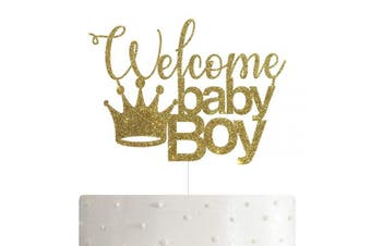 Welcome Baby Boy with Crown Cake Topper for Boy Baby Shower Party Decorations with Premium Gold Glitter