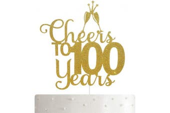 ALPHA K Cheers to 100 Years, 90th Birthday Cake Topper, 100th Anniversary Cake Topper, 90th Party Decoration with Premium Gold Glitter