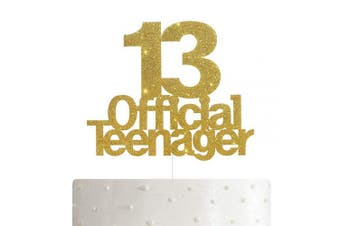 ALPHA K 13 Official Teenager Cake Topper, 13th Birthday Cake Topper, Birthday Party Decoration with Premium Gold Glitter