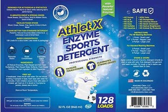 (950ml) - AthletX Enzyme Sports Detergent - 128 Loads - USA Made - 950ml