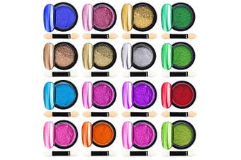(16color) - 16 Jars Chrome Nail Powder Metallic Nail Art Powder, Mirror Effect Manicure Pigment Laser Synthetic Resin Powder 16Colors Nail Powders Manicure Art Decoration with Eyeshadow Sticks – Never Peel off