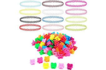 (52 Pieces, Set A) - BodyJ4You 62PC Choker Necklace Butterfly Hair Clips Set Henna Tattoo Stretch Elastic Jewellery Teen Girl