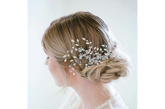 (Blue) - AW Bridal Hair Clip Rhinestones Wedding Hair Comb Barrette Blue Opal Crystal Wedding Hair Piece Bridal Accessories for Brides Bridesmaids