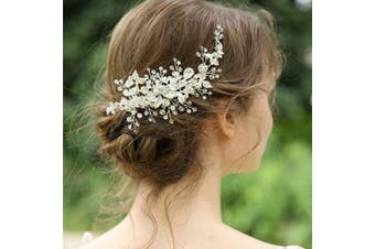 (Silver) - AW Sliver Rhinestones Wedding Hair Clip Side Comb Opal Crystal Vintage Bridal Hair Piece Hair Accessories for Brides Bridesmaids