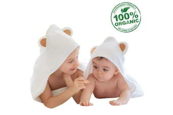 Organic Bamboo Hooded Baby Towel by Mi Bella Baby- Large White Bath Towels with Ears Perfect for Newborn Babies,Toddlers, Boys and Girls- Soft, Absorbent, and Thick Premium Design- Hypoallergenic