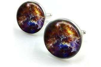 (Silver) - Nebula Cufflinks| cuff links| Orion Nebula| universe cufflinks groomsmen gift| gift for men| gift for him