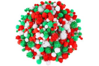 Caydo 500 Pieces Christmas Assorted Pom Poms in 4 Sizes with Glitter Pom Poms for Christmas DIY, Creative Crafts Decorations(Red, Green, White)