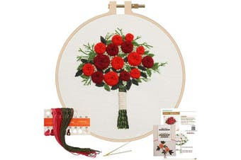 (Red Rose) - Akacraft Unfinished Embroidery Starter Kit, Cotton Fibric with Water Soluble Pattern, 15cm Plastic Embroidery Hoop, Colour Threads, and Needles, Handy Bouquet Series-Red Roses
