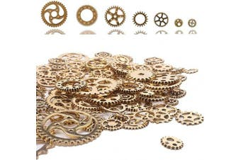 (Antique Gold) - 100 Gramme DIY Antique Metal Gold Colour Steampunk Gears Charms Pendant Clock Cog Watch Wheel Gear for Crafting Cosplay Halloween Decoration Jewellery Making Accessory Steampunk Accessories