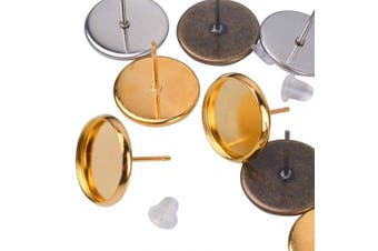 (12mm earring blanks, gold silver bronze stud earrings and clear earring backs) - BronaGrand 30 Pieces Stainless Steel Stud Earring Cabochon Setting Post Cup for 12mm and 30 Pieces Clear Rubber Earring Safety Backs