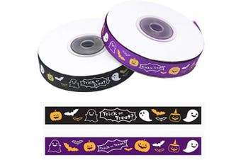 50 Yards Halloween Grosgrain Ribbons Pumpkin Ghost Bat Trick or Treat Printed Gift Wrapping Ribbon Hair Bow Craft Accessory Party Decoration(1.5cm Wide, 2 Styles x 25yd)
