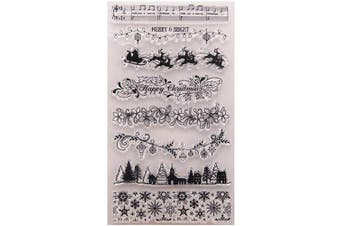 Merry Christmas Snowflakes Borders Christmas Tree Elk Lines Stamps Rubber Clear Stamp/Seal Scrapbook/Photo Album Decorative Card Making Clear Stamps