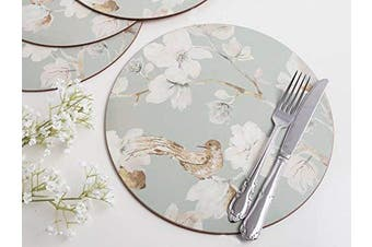 """Duck Egg Floral 4-Piece Set of Premium Cork-Backed Round Placemats by Creative Tops, 29 cm (11½"""")"""