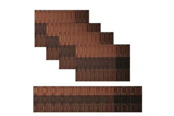 (Set of 4+Table runner 135cm, Brown-01) - Famibay Washable Table Runner and Placemats Set of 4 Heat resistant Vinyl Placemats Set of 4 with Matching Table Runner for Kitchen Table (Set of 4+Table runner 135cm, Brown)