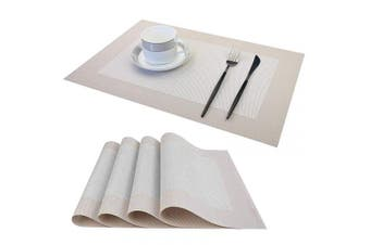 (Beige2, 45*30) - LUOLUO Set of 4 Placemats Washable Kitchen Table Place Mats Heat Resistant Crossweave Woven Vinyl PVC Wipeable Coasters for Garden BBQ