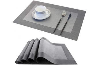 (Silver Black, 45*30) - LUOLUO Set of 4 Placemats Washable Kitchen Table Place Mats Heat Resistant Crossweave Woven Vinyl PVC Wipeable Coasters for Garden BBQ