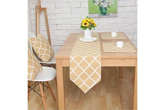 """(Yellow Lingge, 12"""" x 70""""(32*180cm)) - Bestenrose Table Runner Home Tablecover Decorative 2 sides Cotton Linen Classic Table Bedding Mat Dining Room Party Holiday Decoration (Yellow Lingge, 12"""" x 70""""(32 * 180cm))"""