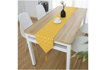 """(Yellow, 12"""" x 70""""(32*180cm)) - Bestenrose Table Runner Home Tablecover Decorative 2 sides Cotton Linen Classic Table Bedding Mat Dining Room Party Holiday Decoration (Yellow, 12"""" x 70""""(32 * 180cm))"""