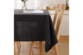 (137x274cm(54x108in), Black) - Deconovo Functional Striped Rectangle Table Cloth Water Resistant Tablecloth Wipeable Table Cloth for Baby Shower Black 137x274cm