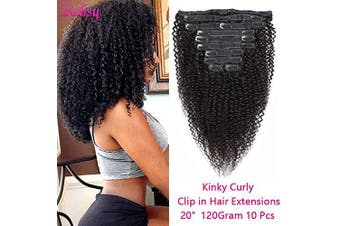 (50cm , Kinky Curly) - Rolisy Kinky Curly Clip in Hair Extensions,Afro 3C 4A Kinkys Curly Human Hair Clip Ins for Women,Thick Soft 8A Brazilian Remy Hair Double Lace Wefts,10/Pcs with 20 Clips,120 Gramme 50cm Natural Colour