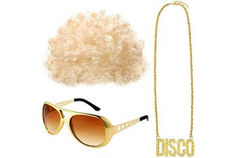 (Style C) - Gejoy Hippie Costume Set Funky Afro Wig Sunglasses Necklace for 50/60/70s Theme Party (Style C)