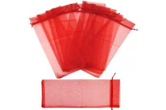 (14cm x 37cm, Red) - FiveSeasonStuff Organza Bags for Wine Bottles Drawstring Gift Wrapping Reusable Birthday Party Wedding 20 Pouches (14cm x 37cm, Red)