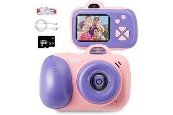 (Pink) - beiens Digital Video Camera for Kids, Selfie Dual Cameras, 5.1cm HD IPS Screen, 800W, 1080P, USB Charge, SD Card Include, Best Birthday Toys for Girls and Boys (Pink)