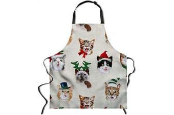 (70cm  x 70cm , Cat) - Allcute Women Men Christmas Kitchen Apron with Adjustable Neck Cute Unique Cool Waterproof Aprons for Home Restaurant BBQ, 70cm x 70cm
